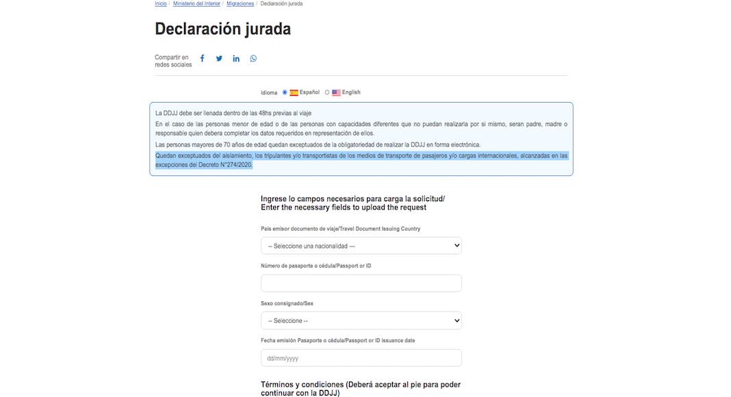 Declaración jurada para ingresar o salir de Argentina